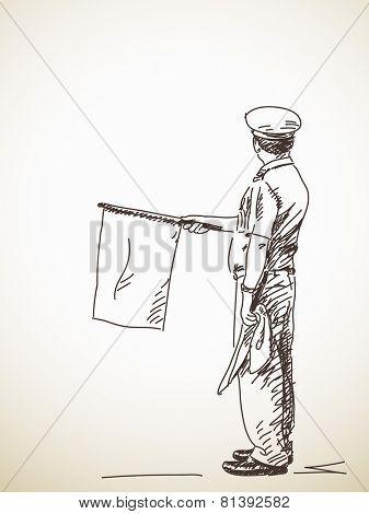 Railway station officer wave a flag, Vector sketch, Hand drawn illustration