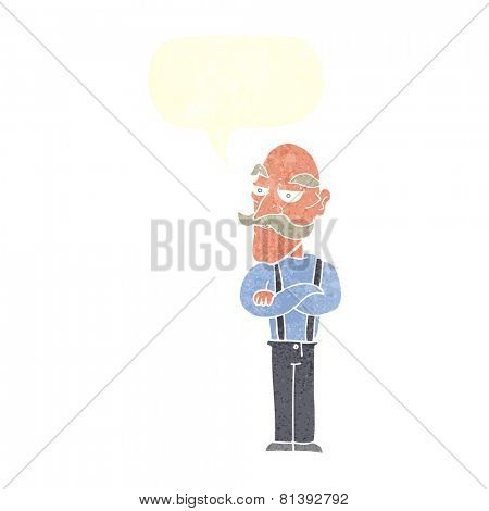 cartoon bored old man with speech bubble