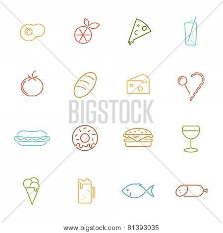 Food vector line icons set. Collection of 16 food related colored line icons vector illustration