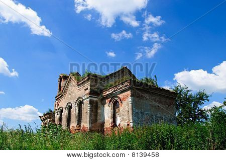 The Old Ruinous Church And Sky