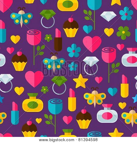 Abstract Colorful Gifts Seamless Pattern. Birthday, Valentines, Romantic, Holiday Background. Set Of