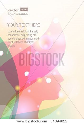 Vector Background With Beautiful Girl Silhouette. Woman's Face And Flower Leaves. Abstract Design Co
