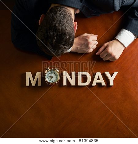 Word Monday and devastated man composition