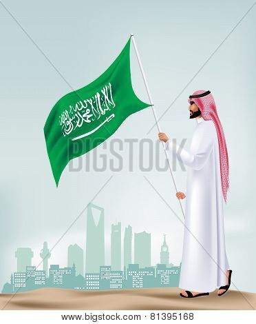 Saudi Arabia Man Holding Flag in the City Vector