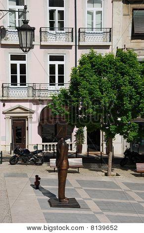 Fernando Pessoa Statue In Lisbon