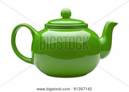 Green Ceramic Teapot