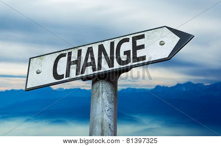Change sign with sky background