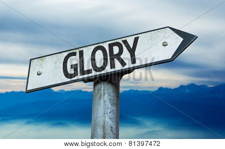 Glory sign with sky background