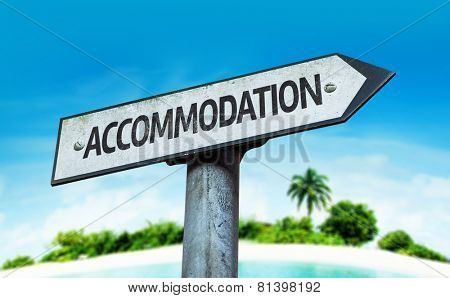 Accommodation sign with a beach on background