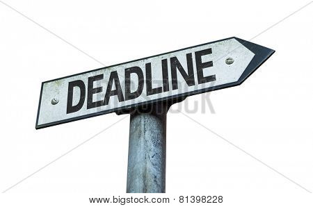 Deadline sign isolated on white background