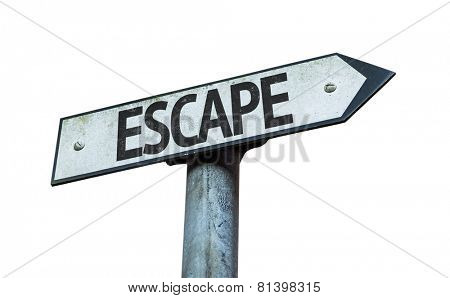 Escape sign isolated on white background