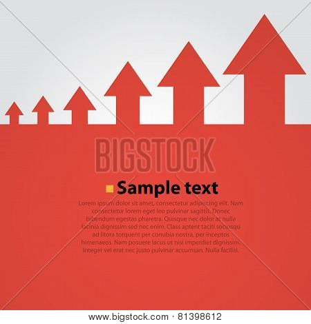 Arrows move up abstract vector background.