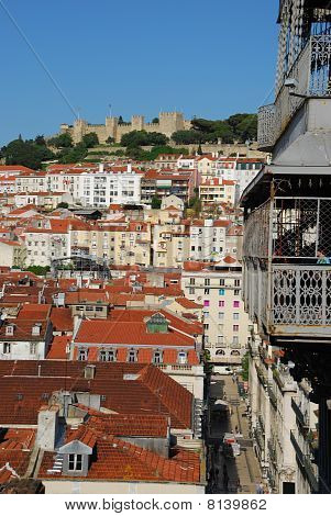 Lisbon Cityscape With Castle And Santa Justa Elevator