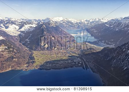 Aerial View Of Interlaken, Thun Lake And Brienz Lake