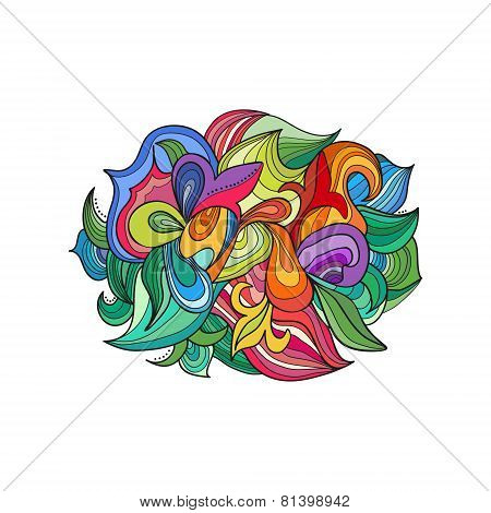 Abstract bright colorful elements from curls isolated on white.