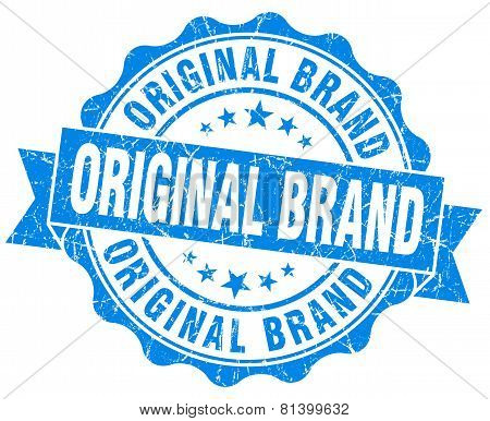 Original Brand Blue Grunge Seal Isolated On White