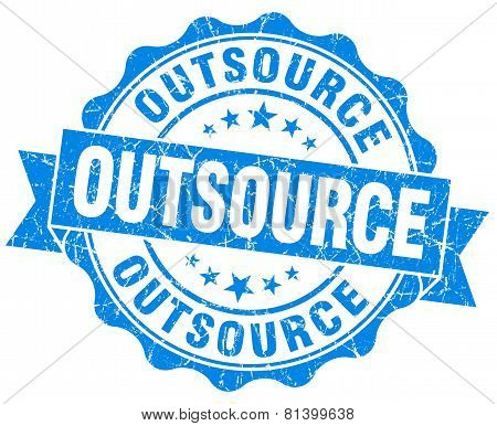 Outsource Blue Grunge Seal Isolated On White