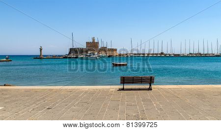 Mandraki, The Oldest Harbor Of Rhodes Island