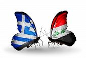 image of iraq  - Two butterflies with flags on wings as symbol of relations Greece and Iraq - JPG