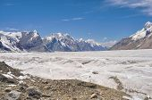 pic of shan  - Scenic view of Engilchek glacier in Tian Shan mountain range in Kyrgyzstan - JPG