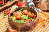 picture of sweet pea  - Fresh salad with sweet corn green peas tomato and chilli pepper - JPG