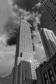 stock photo of empire state building  - Manhattan downtown and Empire State Building in New York City USA - JPG