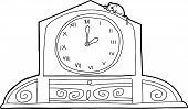 stock photo of nursery rhyme  - Outline drawing of mantle clock with mouse and roman numerals - JPG