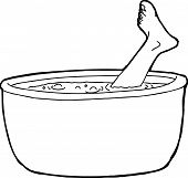 image of cannibalism  - Outline of foot from dead person sticking out of boiling pot of water - JPG