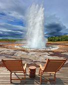 pic of hot water  -  Geyser Strokkur in Iceland - JPG