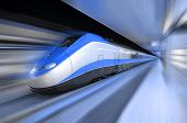 picture of high-speed  - A train designed for high speed travel roaring through a station - JPG