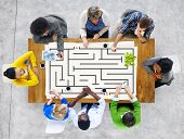 stock photo of maze  - Maze Puzzle Challenge Direction Concept - JPG