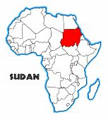 foto of sudan  - Sudan outline inset into a map of Africa over a white background - JPG