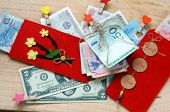 picture of  habits  - Habit custom of Vietnamese on Tet is lucky money a Vietnam traditional culture child wish somebody a happy new year receive red envelope with new small change Tet on spring also lunar new year - JPG