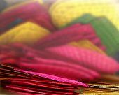 picture of handicrafts  - fan handicraft color pink M100 yellow green blur technique photo at Chatuchak market Bangkok Thailand Asia - JPG