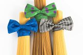 picture of spaghetti  - spaghetti in Italian style with colorful bowtie - JPG