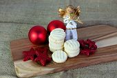 picture of christmas cookie  - Christmas cookies handmade lying on wooden background - JPG