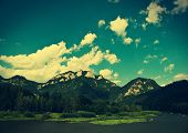 pic of pieniny  - Three Crowns mountain in Pieniny Poland - vintage effect