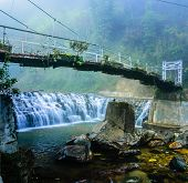 foto of suspension  - The picture of suspension bride across the river to the Cat Cat waterfall in the Cat Cat village Sapa Vietnam - JPG