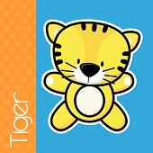 image of cute tiger  - cute little baby tiger and text on solid color background with black and white outline like a sticker for easy isolation - JPG