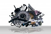 foto of spare  - Many new spare parts for a car - JPG