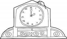 picture of nursery rhyme  - Outline drawing of mantle clock with mouse and roman numerals - JPG
