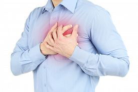 stock photo of medical condition  - Man having chest pain  - JPG
