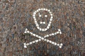 image of skull crossbones  - Human skull and crossbones depicted on pavement in front of the Sedlec Ossuary near Kutna Hora - JPG