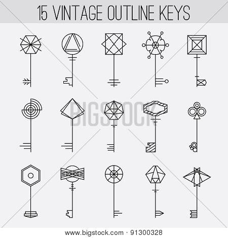 Vintage outline keys set. Retro icons, logo elements collection
