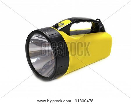 Flashlight LED yellow isolated on white background