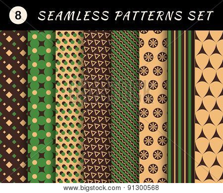 Seamless patterns set. Geometric textures. Abstract backgrounds. backdrop mobile smart phone tablet
