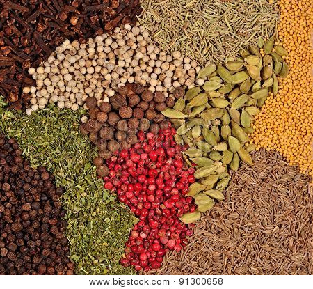 Background Of Various Kinds Of Spices