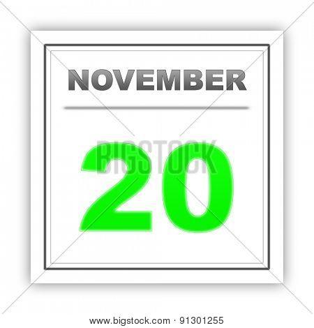 November 20. Day on the calendar. 3d