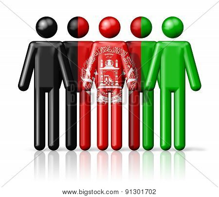 Flag Of Afghanistan On Stick Figure
