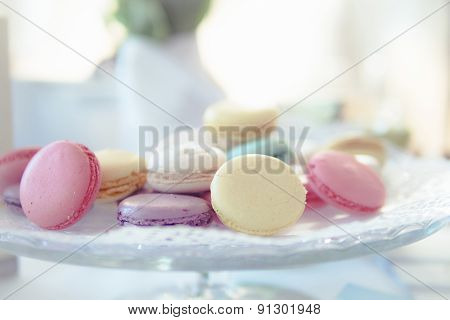 Pastel Macarons On Cake Stands